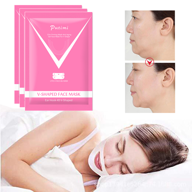 Putimi V Shape Lifting Face Mask 4D Double Slim Hanging Ear Hydrogel Chin Check Neck Firming