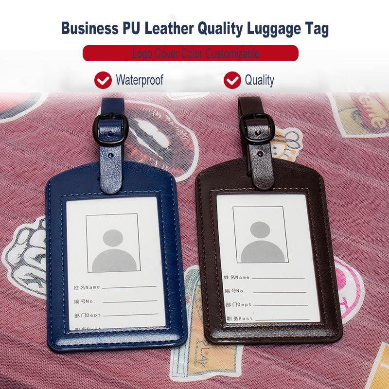 Solid PU Leather Travel Luggage Tag Red Black Colorful Luggage Label Boarding Pass Checked Luggage Name Card Tag ZSLT02