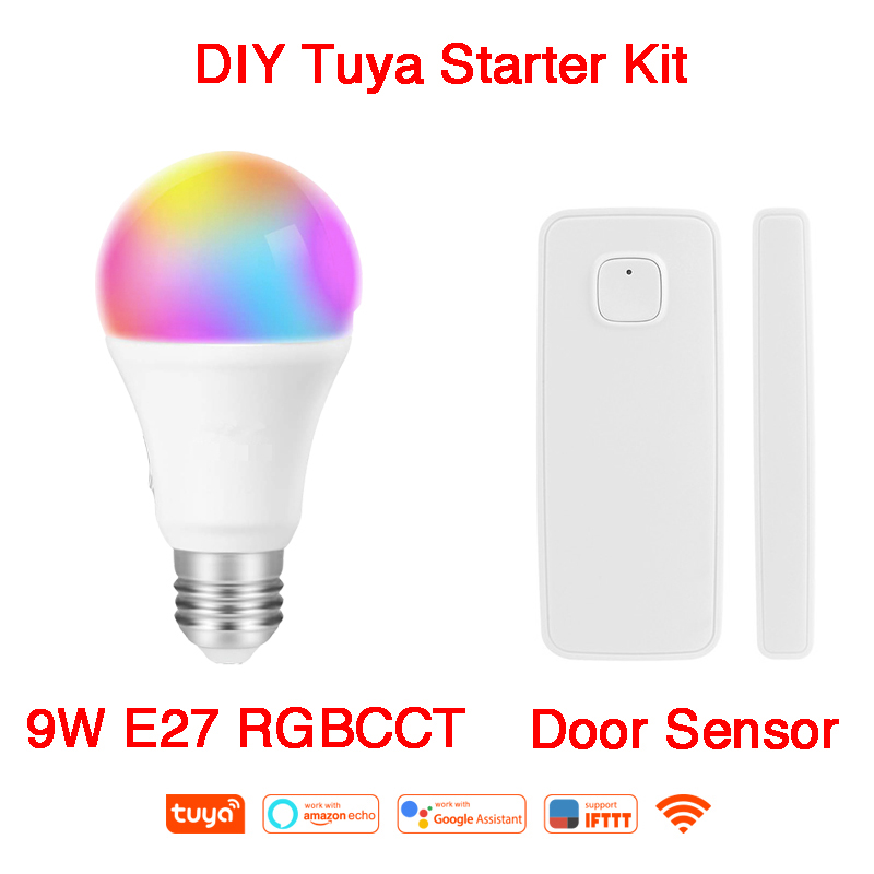 Alexa Google Home IFTTT E27 9W RGBCCT Tuya vie intelligente ampoule WiFi scénarios intelligents capteur de fenêtre de porte sans fil