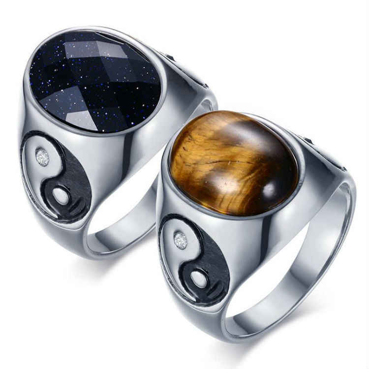 New Arrival Oval Tiger Eye Brown Stones Rings For Men Women Hip Pop Punk Yin Yang Symbol Party Hot Trendy Charm Jewelry Gifts
