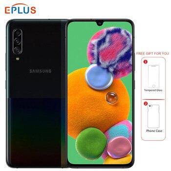 Перейти на Алиэкспресс и купить Samsung 5G Мобильный телефон Samsung Galaxy A90 Snapdragon 855 8 ГБ 128 A9080 6,7 дюйм48MP Тройная камера 4500 мАч NFC 5G смартфон