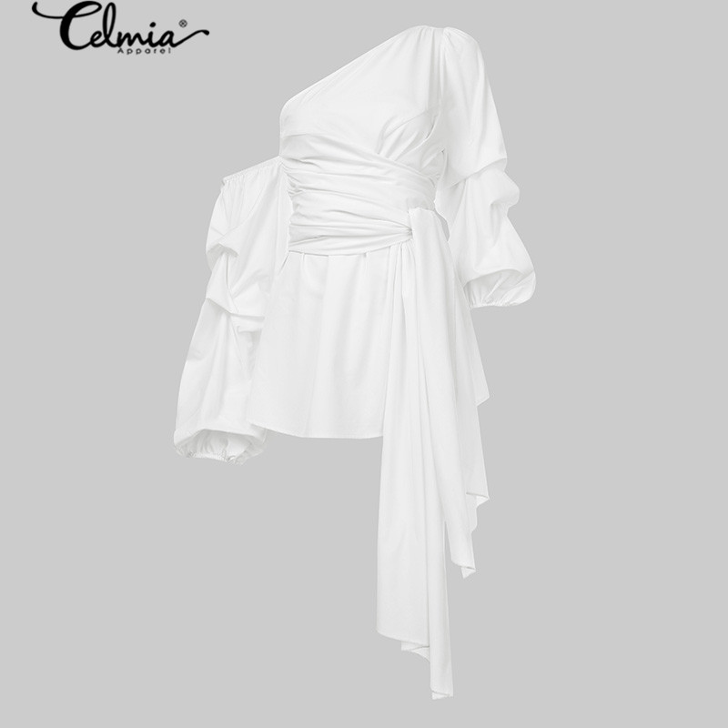 Fashion Womens Tops and Blouses Celmia Summer  Lantern Sleeve One Shoulder Sexy Shirt Casual Belted Elegant Office Party Blusas