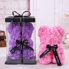 25*16 Cm Diy Teddy Rose Bear with Box Artificial PE Flower Valentine's Day for Girlfriend Women Wife Christmas Party Gift
