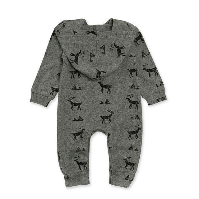 Deer Print Gray Hooded Jumpsuit  5