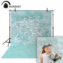 Allenjoy ฤดูใบไม้ผลิภาพวาดฉากหลังการถ่ายภาพ Lake Blue ดอกไม้สีขาวภาพพื้นหลังทารกแรกเกิด photocall ไวนิล photophone