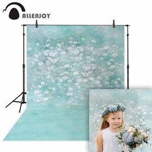 Image 1 - Allenjoy wiosna malarstwo fotografia tło niebieskie jezioro kwiat biały zdjęcie tło noworodka photocall winylu photophone