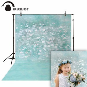 Image 1 - Allenjoy الربيع اللوحة التصوير خلفية بحيرة زرقاء زهرة بيضاء خلفية الصورة الوليد الطفل فوتوكلوس الفينيل photophone