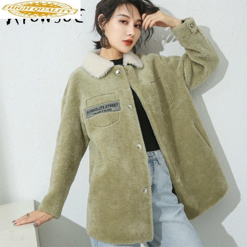 Autumn Winter Coat Women Clothes 2019 Sheep Shearing Real Fur Coat 100% Wool Jacket Women Korean Fashion Fur Tops 19035 YY2099