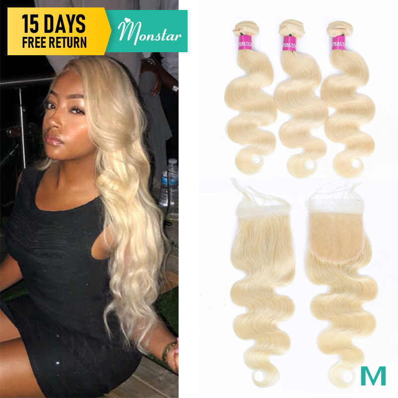 Monstar 613 Blonde Bundles With Closure Brazilian Body Wave Hair Bundles With Closure Remy Human Hair Weave 8 - 36 Inch Bundle
