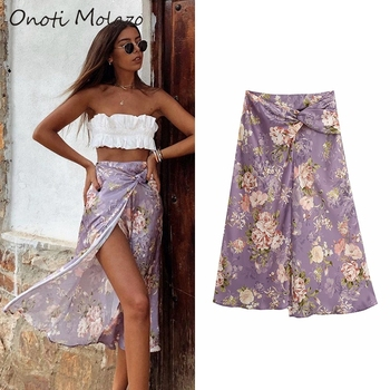 Onoti  floral print long slit skirt high waist sexy split wrap summer beach midi skirts fashion za 2020 women faldas mujer ins summer vintage floral print side slit wrap maxi skirt women irregular long boho skirts rk