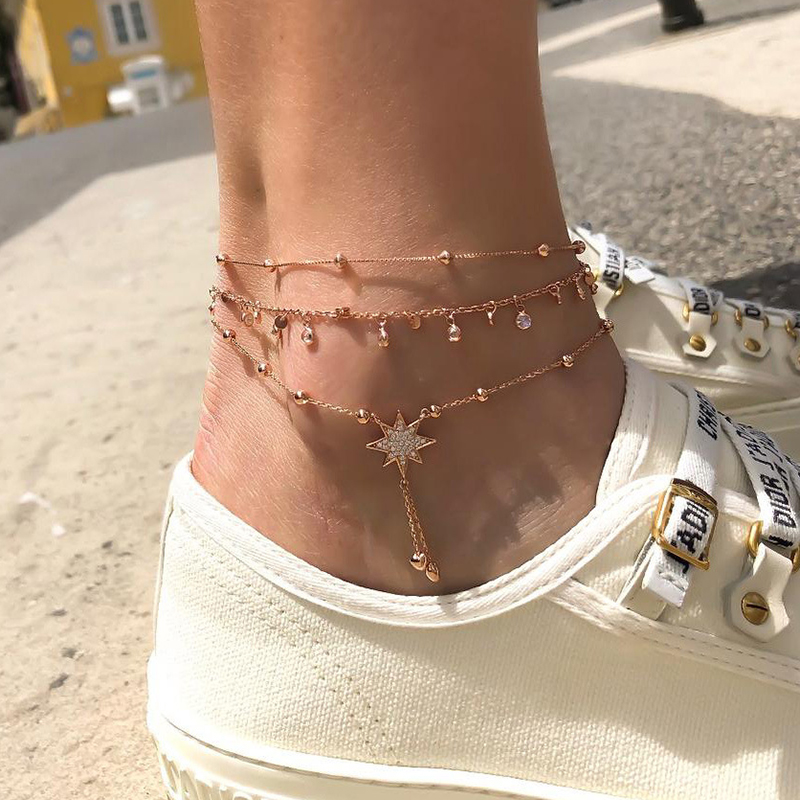 EN Fashion Star Anklets For Women Multilayes Crystal Anklet Bracelet Set 2020 Women Anklets Foot Chain Beach Jewelry Gift