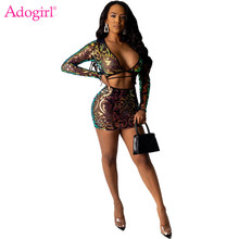 Adogirl Gorgeous Floral Sequins Sheer Mesh Two Piece Set Night Club Dress Wrap V Neck Long Sleeve Crop Top Bodycon Mini Skirt adogirl reflective gilding two piece set dress 3 4 puff sleeve one shoulder crop top bodycon mini skirt women sexy club outfits