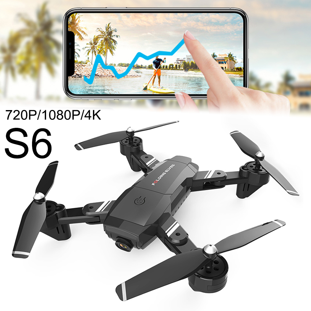 Willkey Upgraded S6 Long Flight Time RC Folding Drone Wide Angle 4K 1080p HD Dual Camera Remote Control FPV Quadcopter Drones
