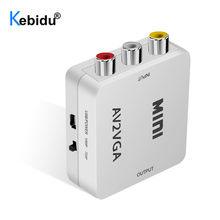 AV2VGA KEBIDU Mini HD Conversor Adaptador de Vídeo AV RCA CVBS ao Conversor De Vídeo VGA Conversor com Áudio de 3.5mm para conversor HDTV PC