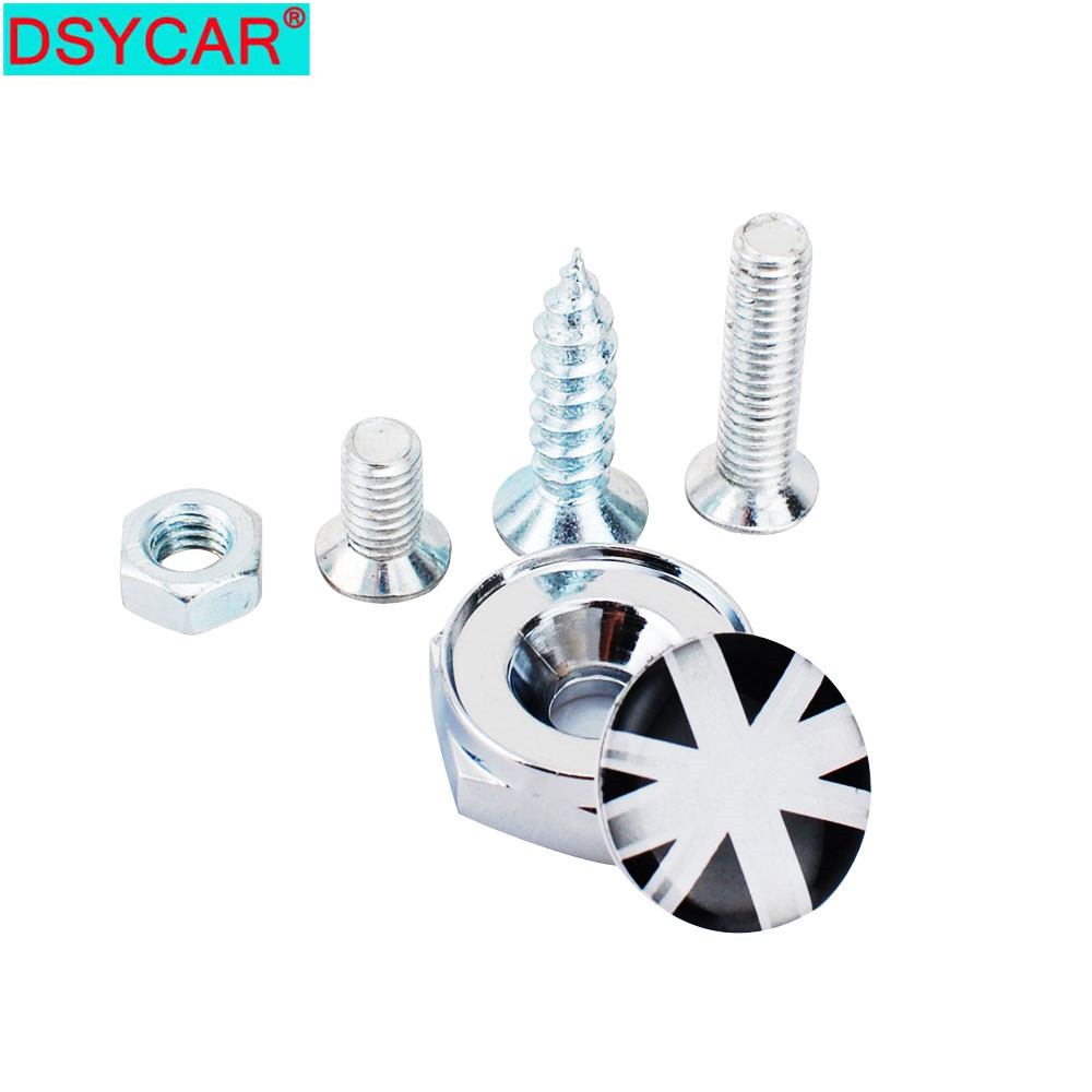 DSYCAR 1 Set Car Accessories England British Flag Thread License Plate Frame Bolts Universal Screws For Universal Car Styling