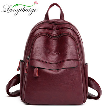 Women Backpack Women Leather Travel Backpack mochila mujer school bags for teenage girls Preppy Female shoulder bag Sac A Dos fashion genuine leather backpack women 2019 sac a dos schoolbag for teenage girls waterproof bag travel purse female brand