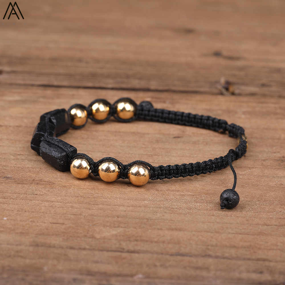 ทัวร์มาลีนสีดำธรรมชาติ Chunky ลูกปัด 8mm ทองแดงรอบลูกปัด Knotted Handmade Braid สร้อยข้อมือผู้หญิง N0387AMF