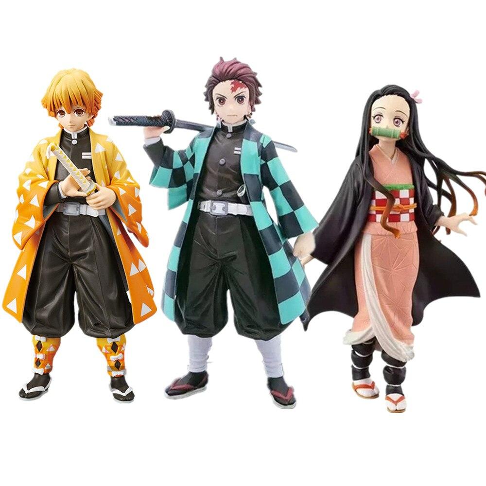 Demônio assassino kimetsu não yaiba agatsuma zenitsu nezuko tanjirou pvc figura de ação brinquedo anime demônio slayer brinquedos figurals