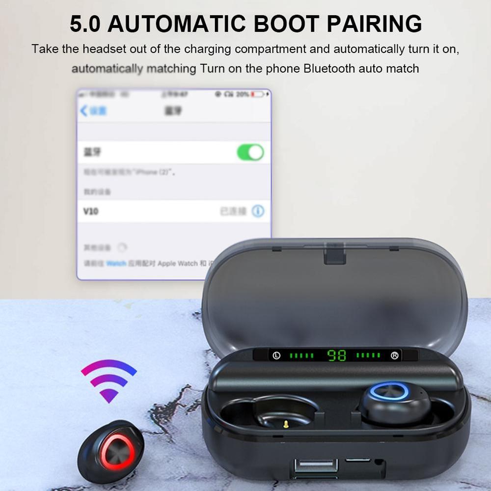 ANC Wireless Earbuds BT5.0 Stereo Sound Earphones Waterproof Headphones Sweatproof Sports Headphone Phone Holder Charging Box