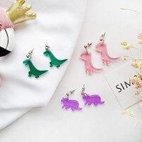 Mignon dinosaure acrylique boucles d'oreilles pour femmes Punk animaux minuscule dinosaure Simple Pendnat boucles d'oreilles femme Bijoux