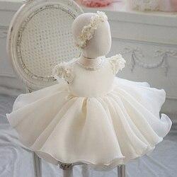 Платье для девочки с кружевной аппликацией и бисером, платье для крещения для девочек на первый день рождения, вечерние платья на свадьбу, К...