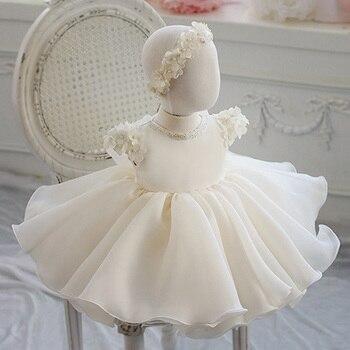 Платье для маленьких девочек кружевное платье для крещения с аппликацией из бисера для девочек 1 год, день рождения, свадьба, Крещение, одежд...