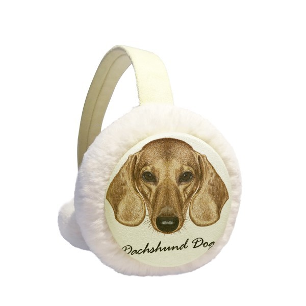 Brown Short-leg Dachshund Dog Animal Winter Earmuffs Ear Warmers Faux Fur Foldable Plush Outdoor Gift