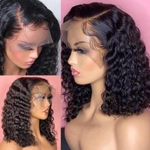 Wigirl brasileiro 13x4 laço bob perucas pré arrancadas com o cabelo do bebê onda profunda curto água encaracolado bob peruca perucas de cabelo humano para mulher