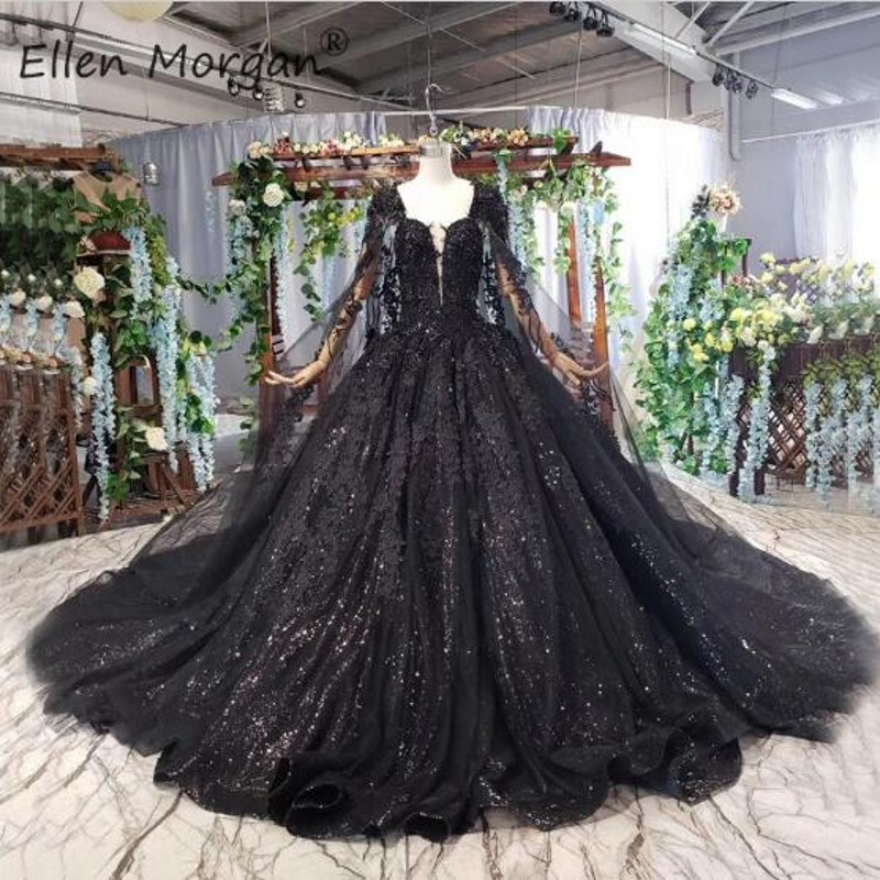 Black Wedding Dress Long Ball Gowns For Woman Elegant 2019 Lace Glitter Beads Lace Up With Shawl Vestido De Novia Bridal Gowns