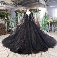 Schwarz Hochzeit Kleid Lange Ballkleider Für Frau Elegante 2019 Spitze Glitter Perlen Lace up Mit Schal Vestido De Novia brautkleider