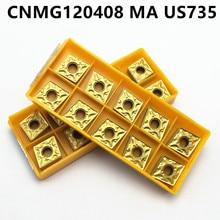 10pcsCNMG120408 US735 external turning tool lathe milling cutter carbide blade machining steel CNMG120408