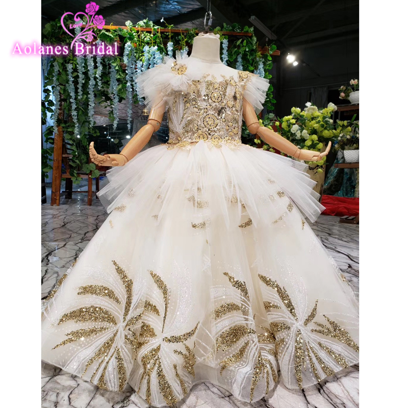 Real Photo 2016 Flower Girl Dress Gold Ball Gown Cute Lace Appliques Ball Gown Princess Pageant First Communion Dress For Girls