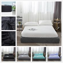 Bed-Sheets Mattress-Cover Elastic-Rope Silk-Protection Cool Soft with Solid-Color-Material
