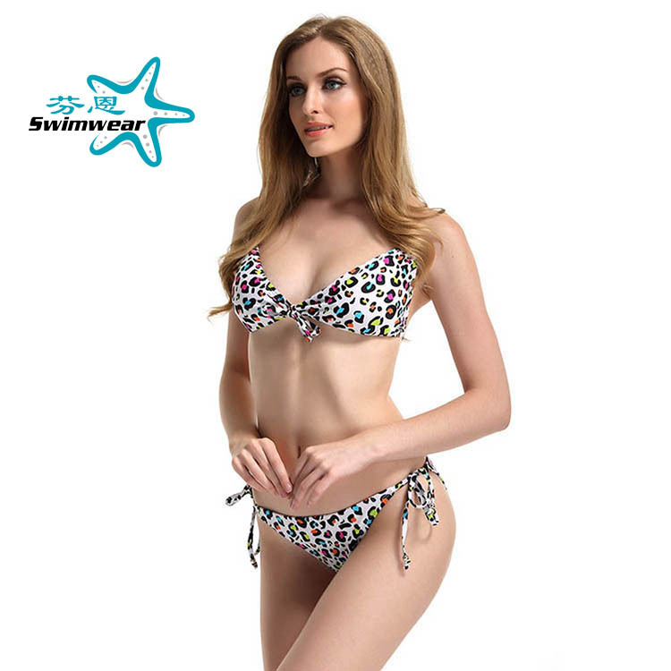 Europe And America-WOMEN'S Swimsuit With Deconstructable Chest Pad Wireless Cup Lace-up Bikini Printed Bathing Suit