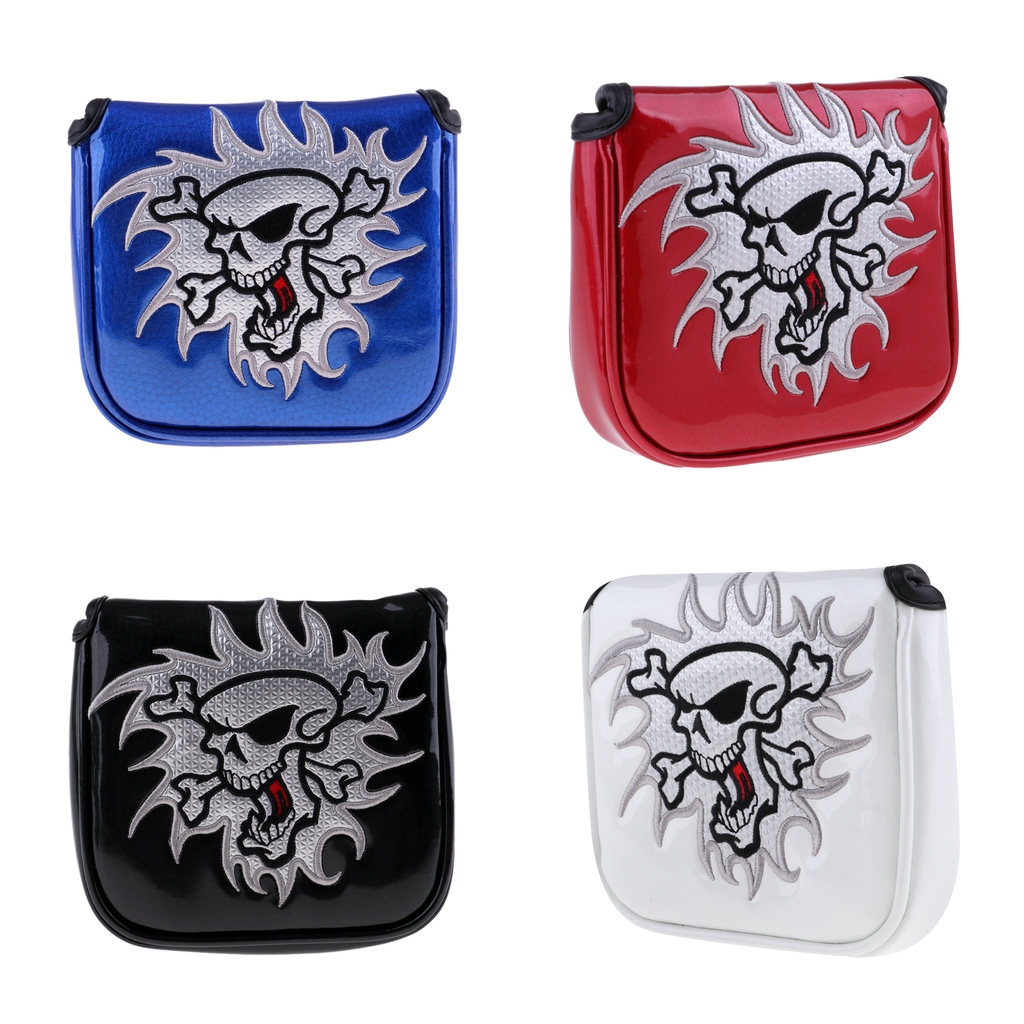Square Waterproof PU Skull Golf Mallet Putter Head Cover Headcover Protector Bag With Magnetic Closure - 4 Colors