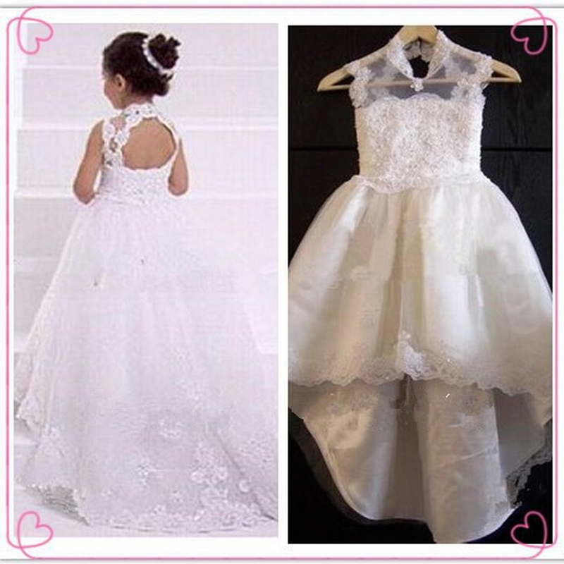 High Neck Open Back Lace Fairy Princess Flower Girl Dresses Lace Appliques Kids Formal Wedding Party Gowns Train Beads For Girls