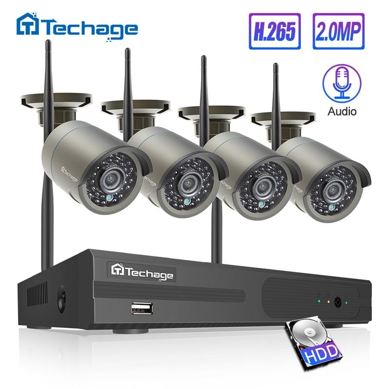 H.265 4CH Registro de Áudio Do Sistema De Segurança Sem Fio 1080P 2.0MP Wi-fi NVR Câmera de Vigilância de Vídeo Sistema de CCTV Uso Ao Ar Livre Indoor