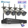 H.265 Senza Fili del Sistema di Sicurezza CCTV 4CH 1080P 2.0MP HD WiFi NVR Kit Audio Record di IR Coperta Telecamera Esterna Video di sorveglianza Set
