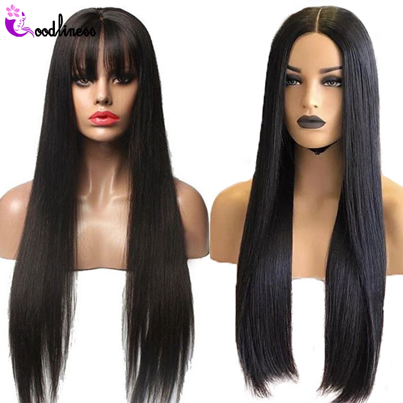 13x6 Deep Part Straight Lace Front Human Hair Wigs With Bangs For Black Women Remy Brazilian Wig 150 Pre Plucked Bleached Knots
