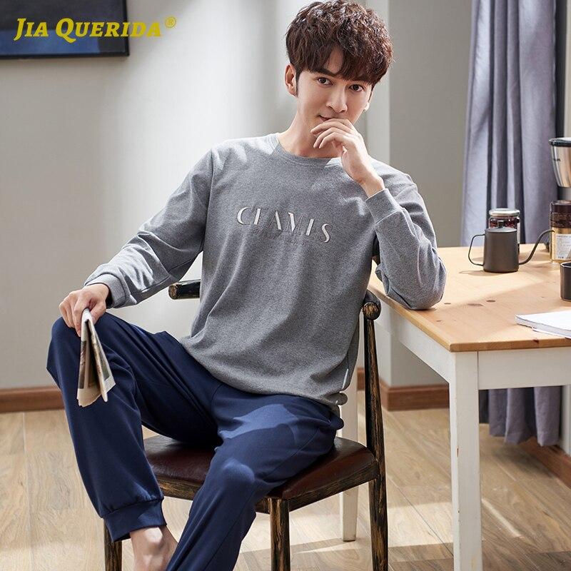 Fashion Male's Pajamas 100% Cotton Sporty Sleepwear Big Set Large Size Mens Night Wear Cotton Home Clothing 2020 New Pjs Man Set
