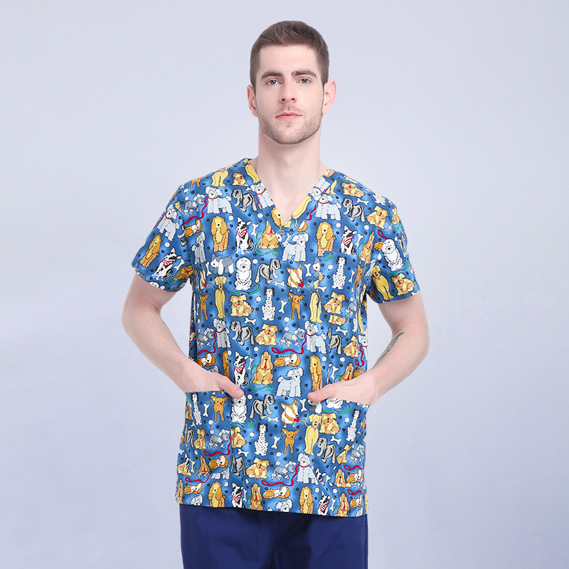 2019 Summer Scrub Tops New Fashion V-neck Men's Beauty Salon Dental Clinic Work Clothes Suit Doctor Nurse Uniform Blue Dog