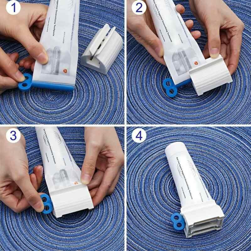 Plástico pasta de dientes tubo exprimidor dispensador sencillo Soporte rodante suministros de baño