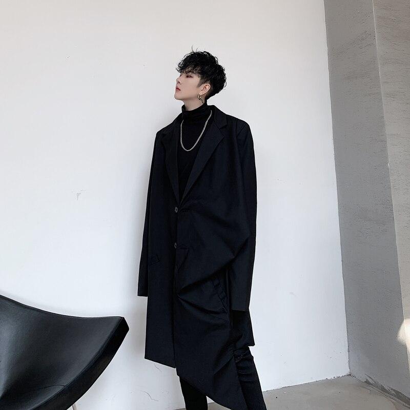 Japan Street Long Suit Coat Men Casual Suit Blazer Jacket Overcoat MaleOuterwear Stage Show Clothing B75