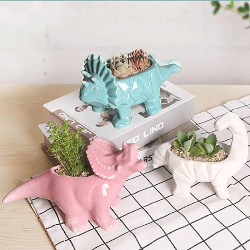 Реалистичный мультфильм динозавр суккулент растение керамика цветок горшок в помещении сад дом украшение милый динозавр зеленый растение цветочный горшок