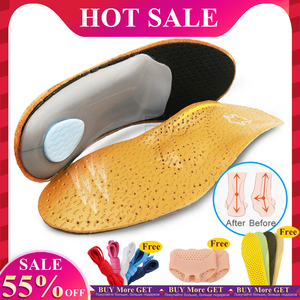 Unisex Premium Leather Orthotic insole for Flat foot Shoe Insoles High Arch Support orthopedic Pad for Correction OX Leg Health(China)