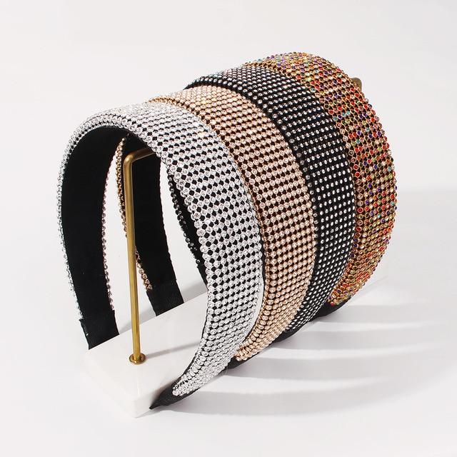 Full Luxury Padded Bling Crystal Rhinestone Wide Hairband 1