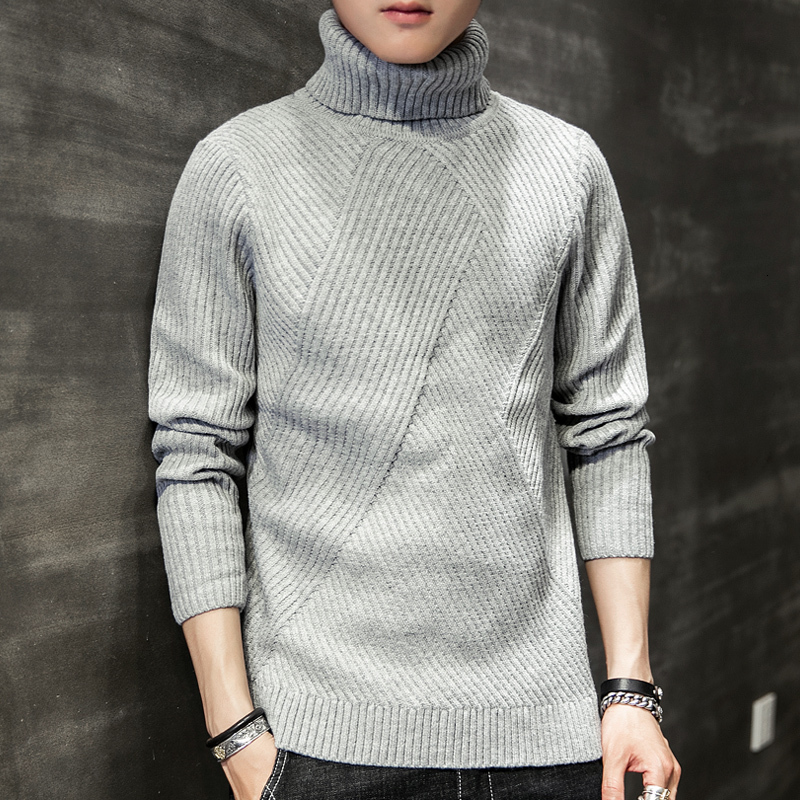 Winter Turtleneck Sweater Men Warm Fashion Solid Color Casual Knit Sweater Man Loose Long Sleeve Pullover Men Sweter Clothes
