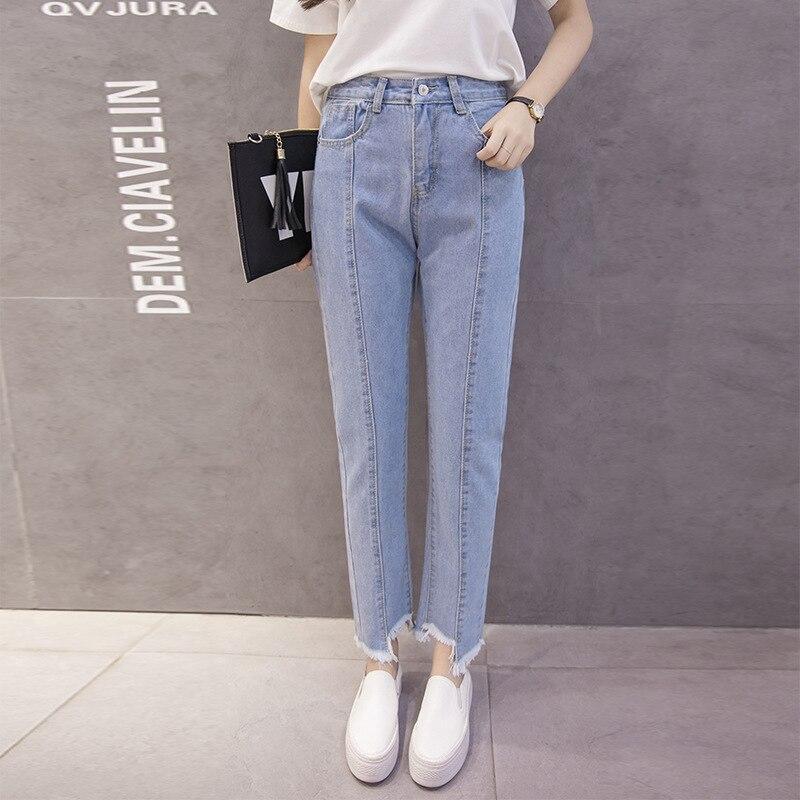 Slimming Autumn Clothing WOMEN'S Dress Korean-style High-waisted Loose-Fit Irregular Flash Gap Straight-leg Pants Slimming Capri