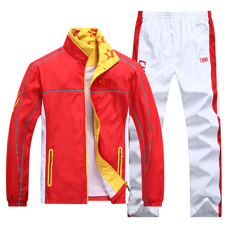 Spring And Autumn China National Team Sports Set Long Sleeve Men And Women School Uniform Running Champion Olympic Receive Award