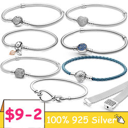 TOP SALE Pulseira 925 Sterling Silver Bracelet Femme Heart Snake Chain Bracelet For Women Fit Original Charm Beads Jewelry Gift